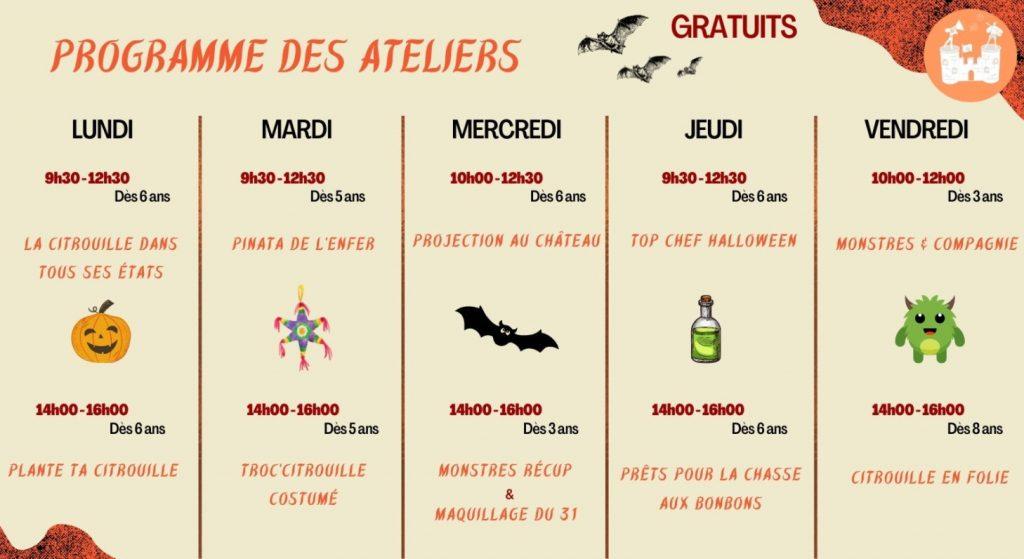 atelier enfant Halloween Chateau Vallandraut Gironde