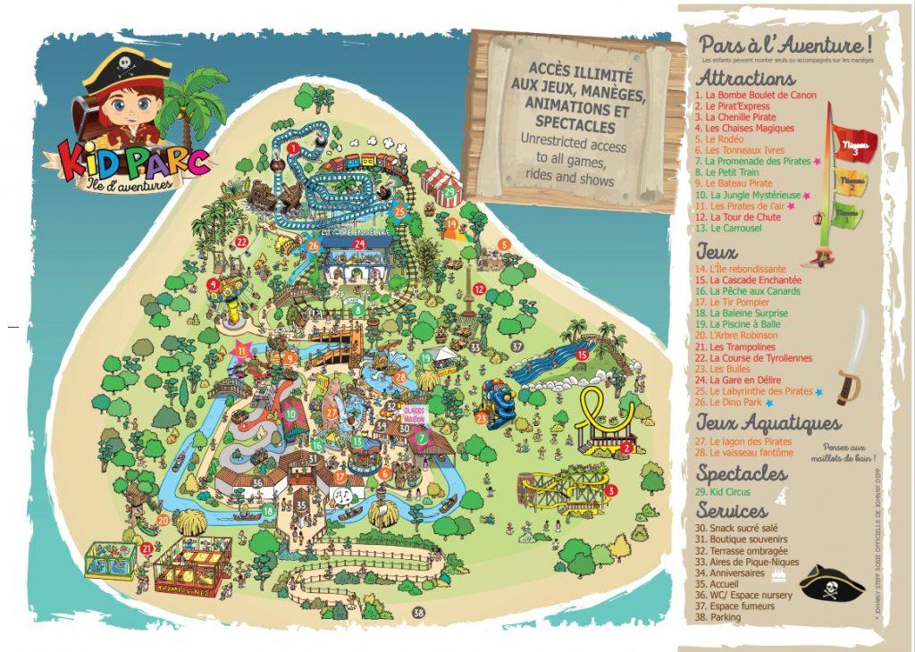 Plan du parc de loisirs Kid Parc à Gujan-mestras bassin arcachon pres bordeaux gironde