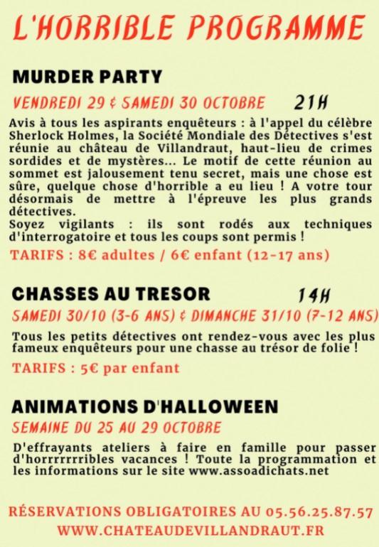 Loisirs, animations pour enfants pour Halloween au Chanteau Vallandraut Gironde