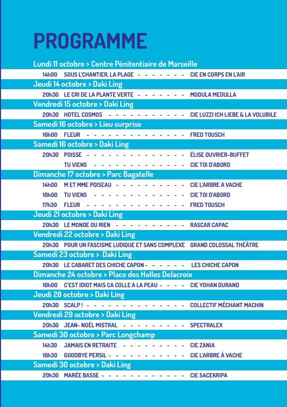 programme festival Tnedance Clown Daki Ling Marseille 2021