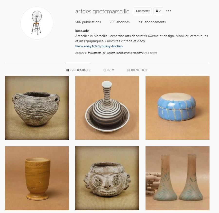 suivez le compte instagram de la boutique vintage et décoration Art Design Etc au cours julien à marseille