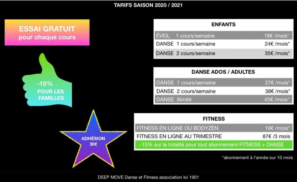 tarif pour de danse et fitness deep move langon