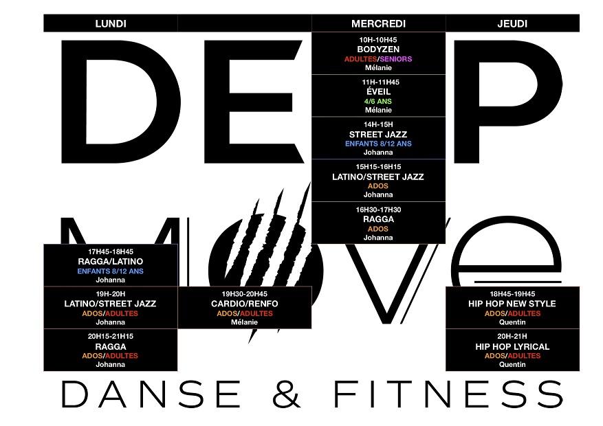 planning des cours de danse et fitness chez deep move langon