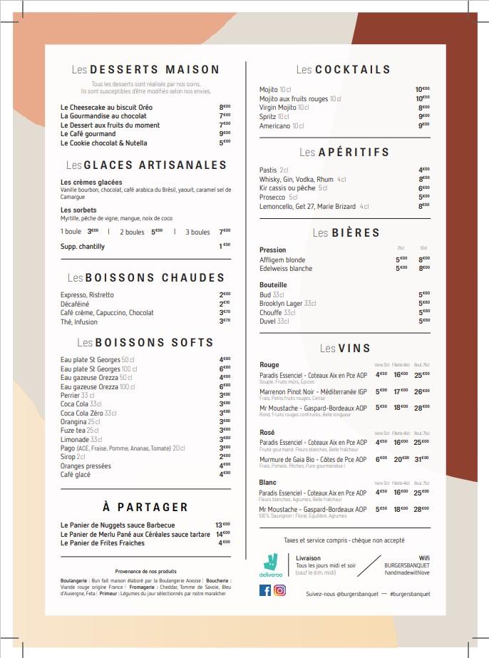 menu enfant, desserts et boissons du restaurant burger's banquet 13001 marseille