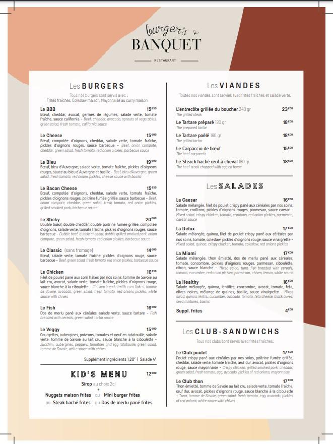 menu burgers et viandes du restaurant burger's banquet 13001 marseille