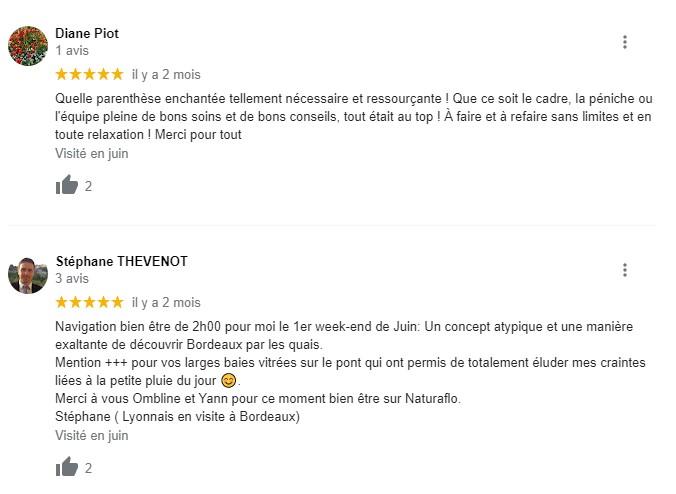 avis clients sur les cours de yoga sur le bateau péniche Naturaflo à Bordeaux