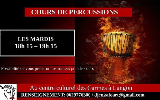 cours de percussions djembé aux carmes à langon avec l'association Djenkafoart pour enfant, ado, adulte