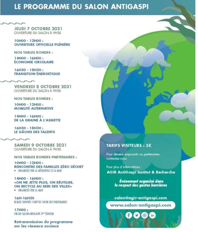 programme du salon Anti-Gaspi au Stade Orange Vélodrome Marseille