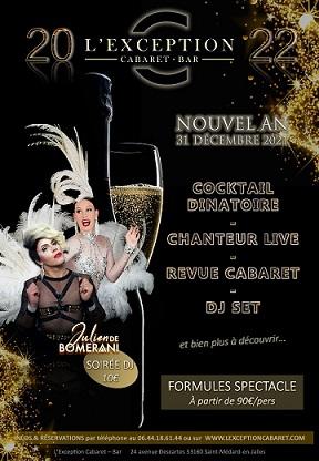 soirée jour de l'an réveillon 2022 au Cabaret l'Exception à Saint médard en jalles