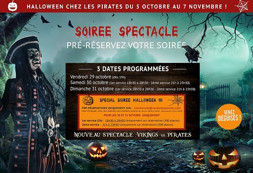 halloween au restaurant Escale Pirates Mérignac et spectacles pour enfants